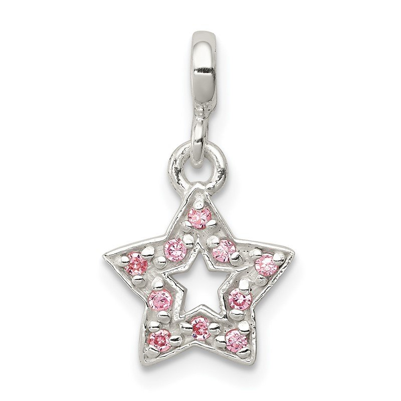 Quality Gold Sterling Silver Pink CZ Star Enhancer