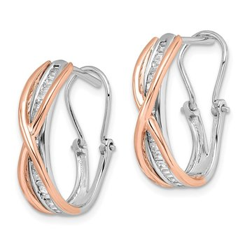 14k Rose and White Gold Diamond Fancy Earrings