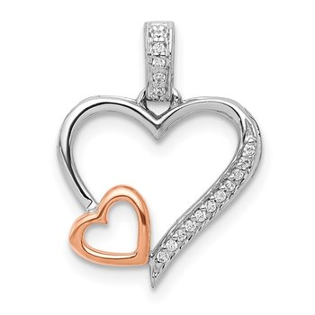 14k White and Rose Gold 1/20ct. Diamond Double Hearts Pendant