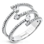 Simon G Simon G 18kt white gold diamond ring, triple band design set with 0.10ct marquise cut, 0.09ct pear shape and 59=0.42ct rbc diamonds. Available at our Halifax store.