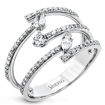 Simon G 18kt white gold diamond ring, triple band design set with 0.10ct marquise cut, 0.09ct pear shape and 59=0.42ct rbc diamonds. Available at our Halifax store.
