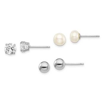 Sterling Silver RH-plated 6mm Ball/Button FWC Pearl/CZ Stud Ear Set