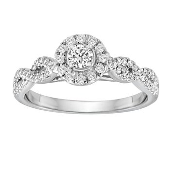 BLISS15: 14KW Round Halo Crossover Engagement Ring