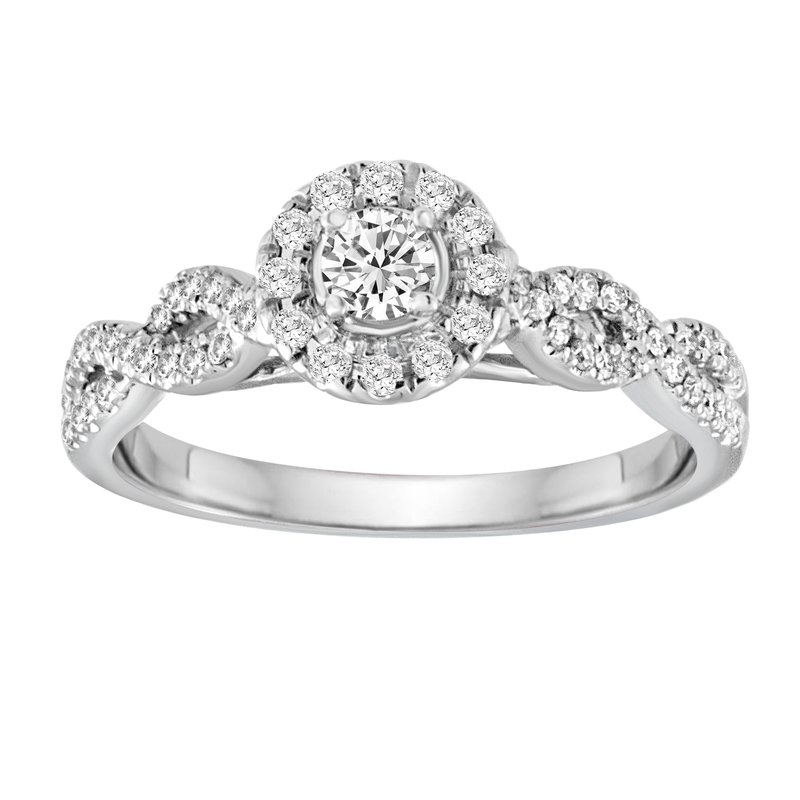 Blissful Bride BLISS15: 14KW Round Halo Crossover Engagement Ring