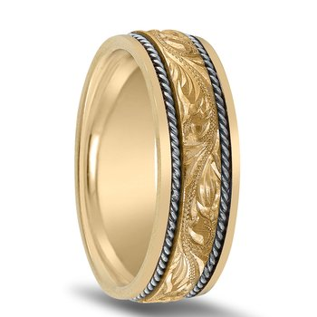 Hand-engraved Men's Wedding Band N01707 by Novell
