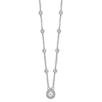 Sterling Silver Rhodium-plated Pear CZ Halo w/ 2in ext. Necklace