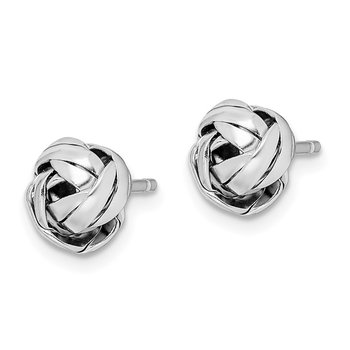 Sterling Silver Rhodium-plated Braided Knot Post Earrings