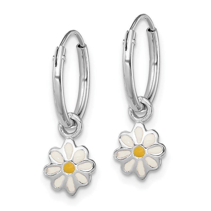Quality Gold Sterling Silver RH Plated Child's Enameled Daisy Hinged Hoop Earrings