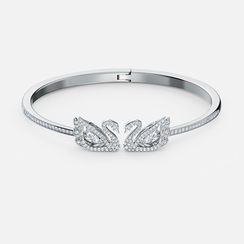 Swarovski Dancing Swan Bangle, White, Rhodium plated