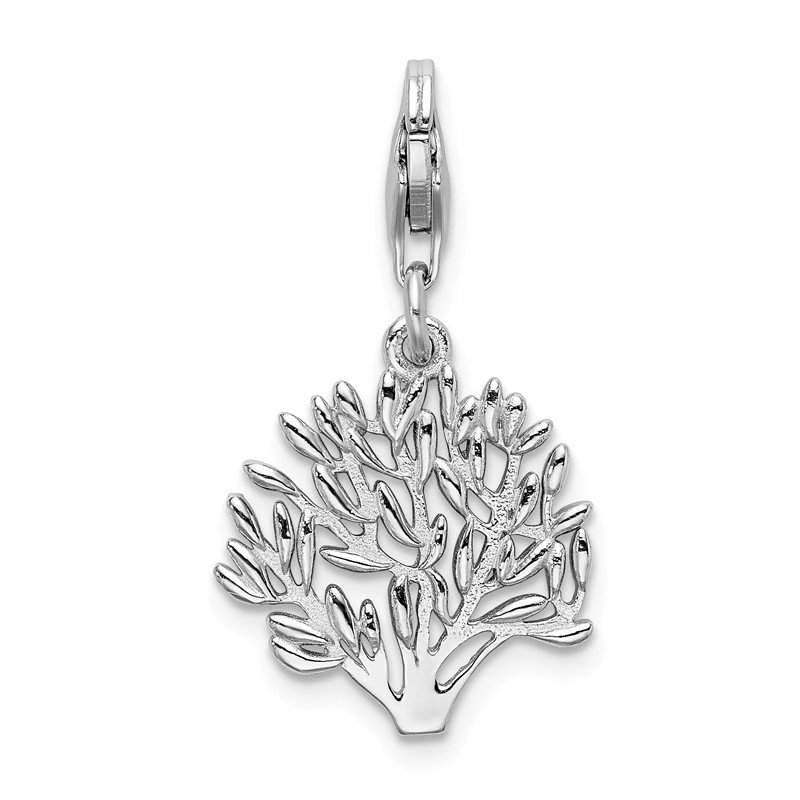 Quality Gold SS RH Polished Tree with Lobster Clasp Charm