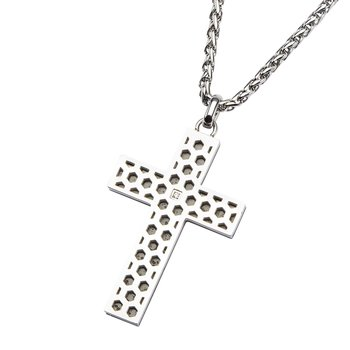 Steel Honey Comb Pattern with 1 Clear Genuine Diamond Cross Pendant with Chain