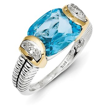 Sterling Silver w/14k Swiss Blue Topaz & Diamond Ring