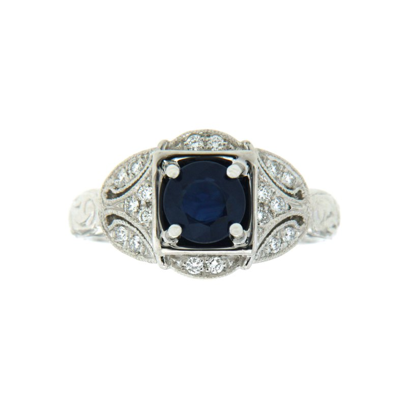 Paragon Fine Jewellery 14k White Gold Ring with Sapphire & Diamond