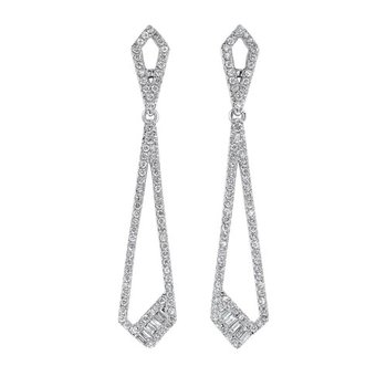 Diamond Modern Geometric Dangle Earrings in 14k White Gold (¾ ctw)