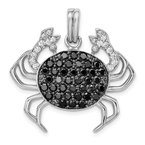 Quality Gold Sterling Silver Rhodium-plated Black & White CZ Crab Pendant