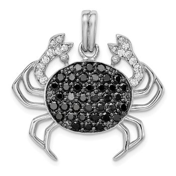 Sterling Silver Rhodium-plated Black & White CZ Crab Pendant