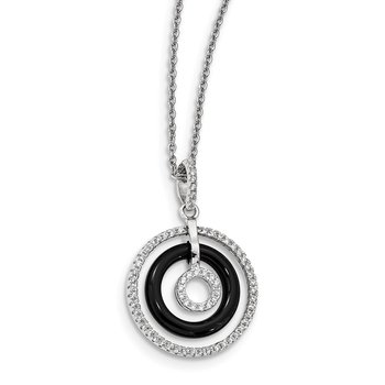 Sterling Silver Brilliant Embers Rhodium-pl CZ and Onyx Circles Necklace
