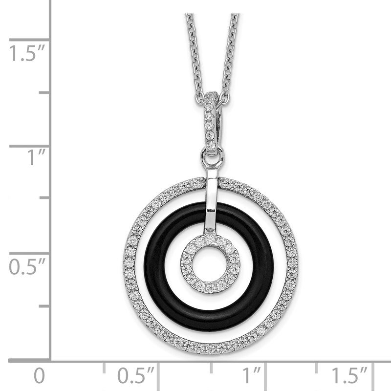 Quality Gold Sterling Silver Brilliant Embers Rhodium-pl CZ and Onyx Circles Necklace