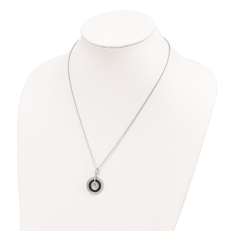 Quality Gold SS Rhodium-Plated CZ & Onyx Brilliant Embers Circles Necklace