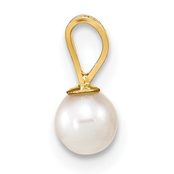 14k Gold 4-5mm Round White FW Cultured Pearl Pendant
