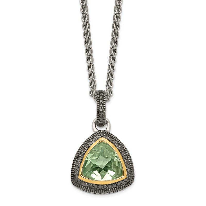 Shey Couture Sterling Silver w/ 14K Accent Green Quartz Pendant