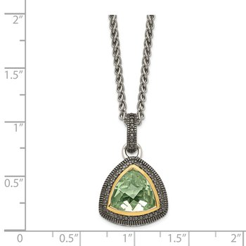 Sterling Silver w/ 14K Accent Green Quartz Pendant