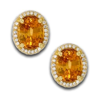 Oval Golden Tourmaline Studs