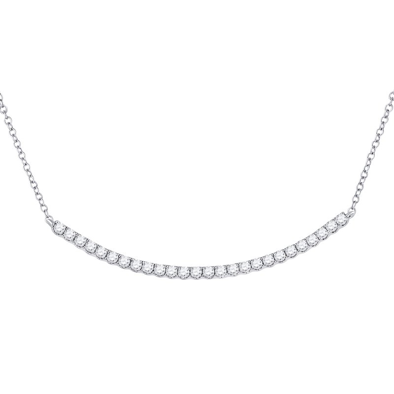 Kingdom Treasures 14kt White Gold Womens Round Diamond Curved Bar Necklace 3/4 Cttw