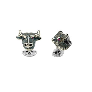 Sterling Silver Oxidised Bull and Bear Cufflinks