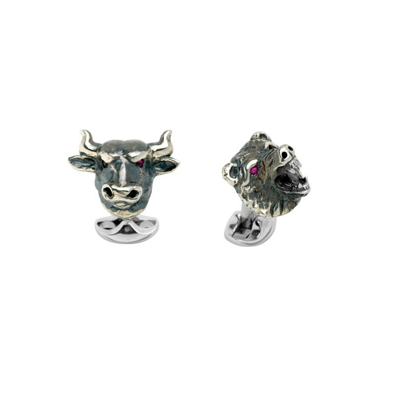 Deakin & Francis Sterling Silver Oxidised Bull and Bear Cufflinks