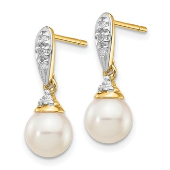 14k 6-7mm White Round FWC Pearl .08ct Diamond Dangle Earrings