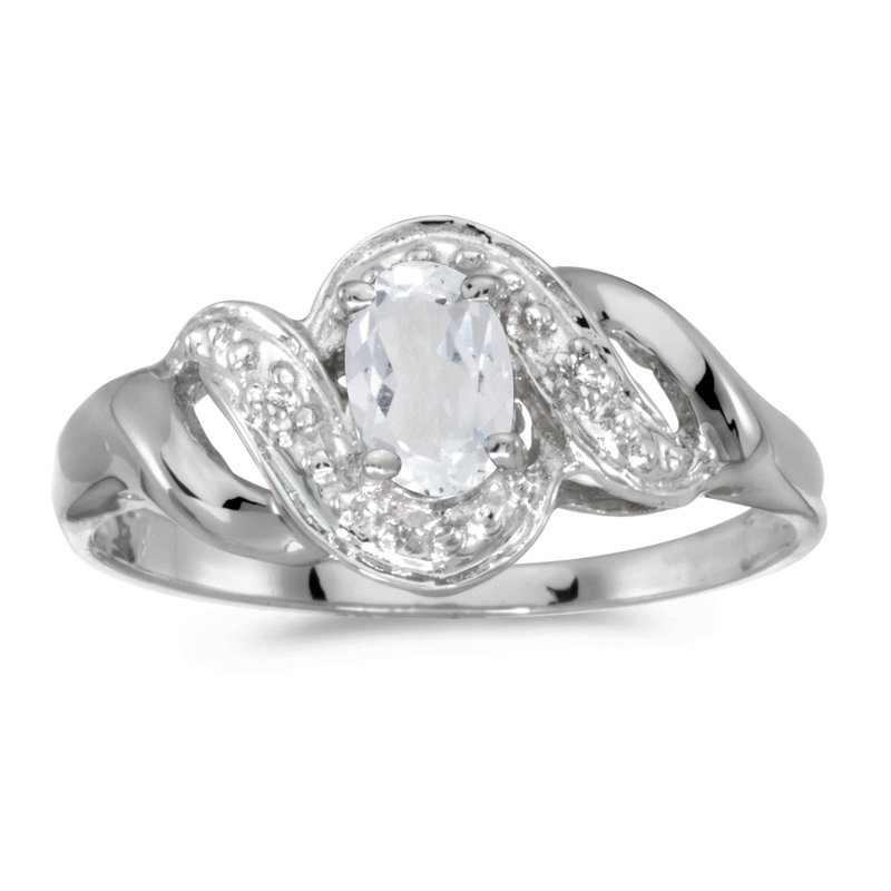 Color Merchants 10k White Gold Oval White Topaz And Diamond Swirl Ring