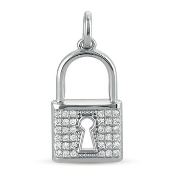 White Gold Lock Charm 25mm