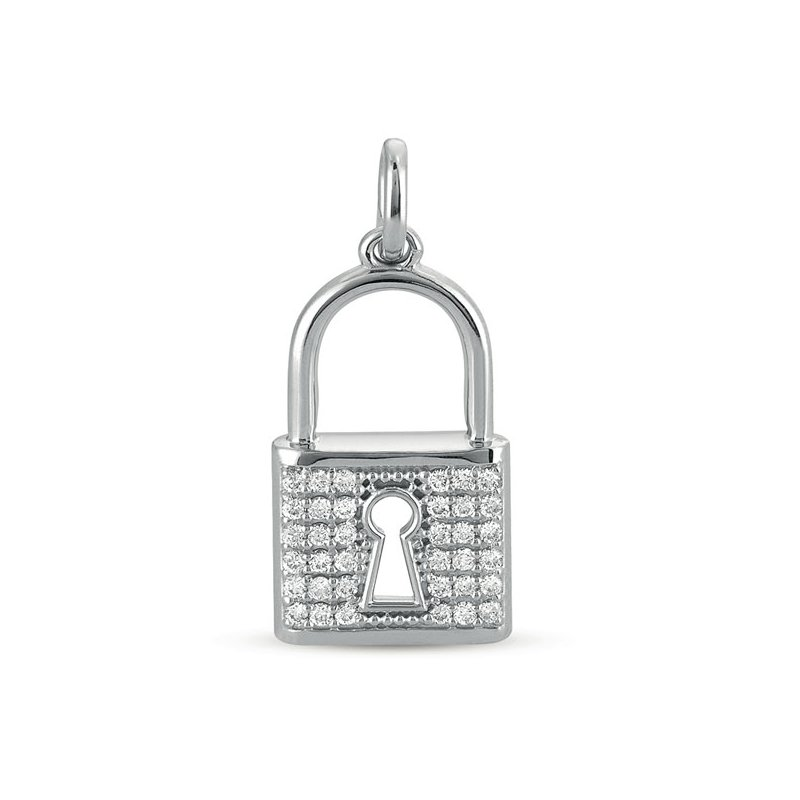 S. Kashi  & Sons White Gold Lock Charm 25mm