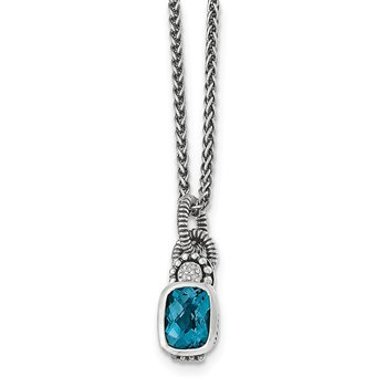 Sterling Silver London Blue Topaz & Diamond Necklace