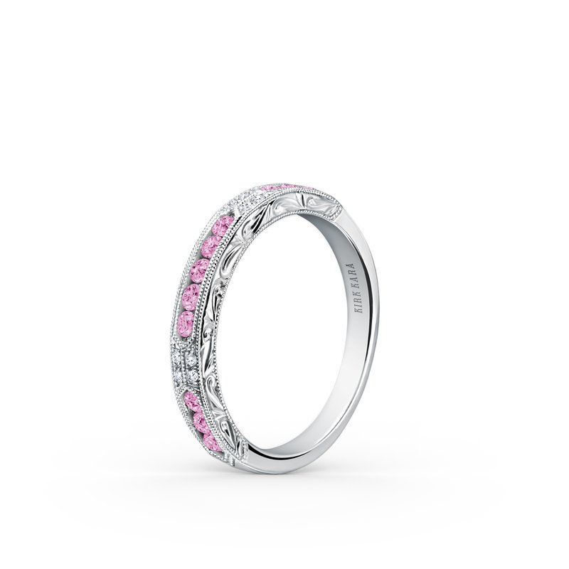 Kirk Kara Pink Sapphire Engraved Diamond Wedding Band