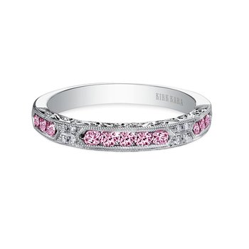 Pink Sapphire Engraved Diamond Wedding Band