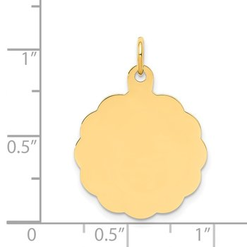 14k .011 Gauge Engravable Scalloped Disc Charm
