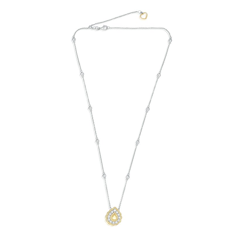 Roman & Jules Triple Halo Pear-shaped Diamond Necklace