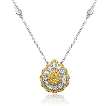Triple Halo Pear-shaped Diamond Necklace