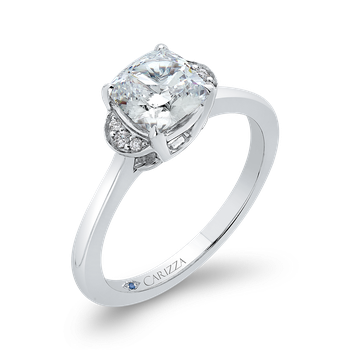 Cushion Diamond 18K White Gold Classic Engagement Ring (Semi-Mount)