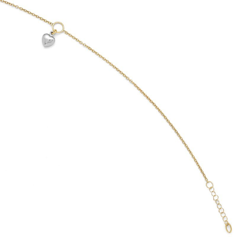 Leslie's Leslie's 14K Two-tone Polished Heart w/1in ext. Anklet