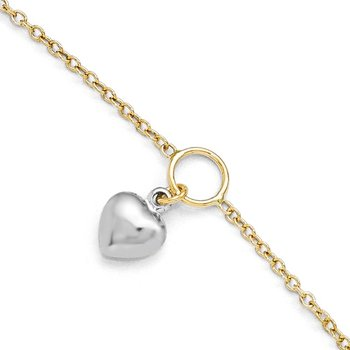 Leslie's 14K Two-tone Polished Heart w/1in ext. Anklet