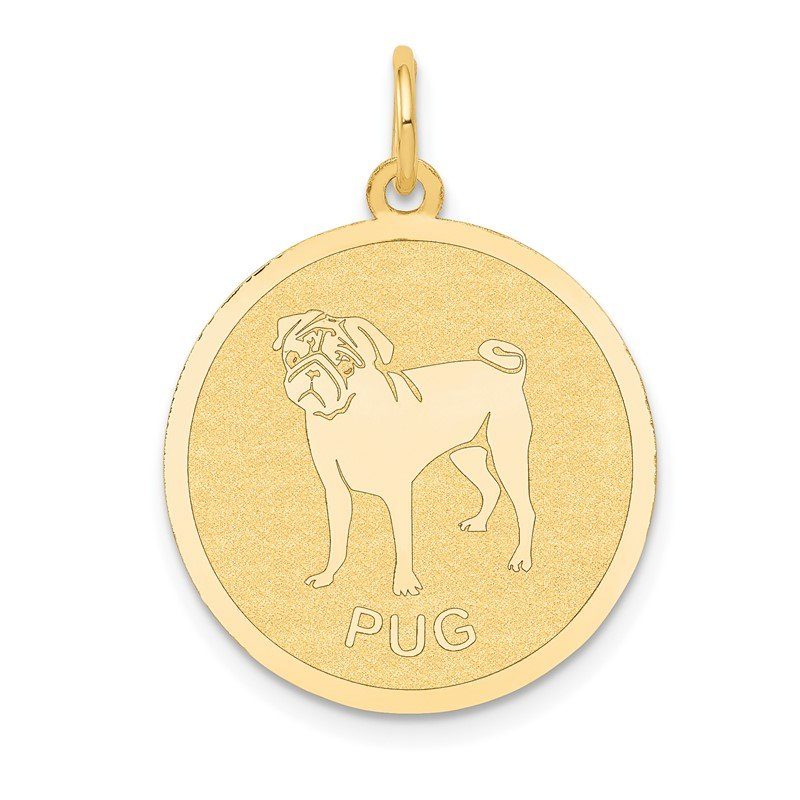 Quality Gold 14k Pug Disc Charm