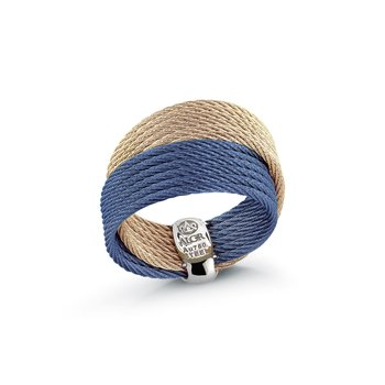 Blueberry & Carnation Cable Crossed Ring with 18kt Yellow Gold