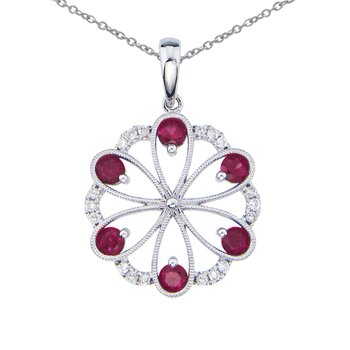 14k White Gold Ruby and Diamond Flower Pendant