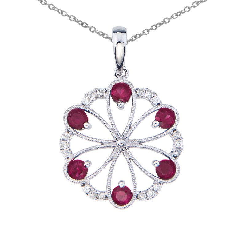 Color Merchants 14k White Gold Ruby and Diamond Flower Pendant