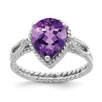 Sterling Silver Rhodium-plated Amethyst Pear Twisted Ring
