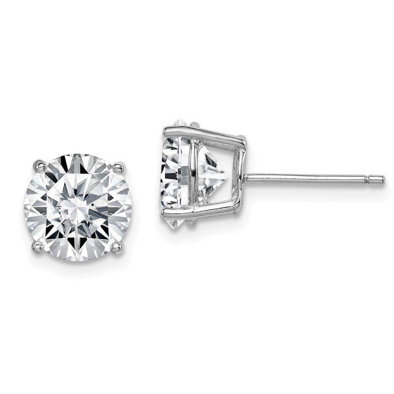 Quality Gold Sterling Silver Rhodium-plated Round CZ 8mm Post Earrings