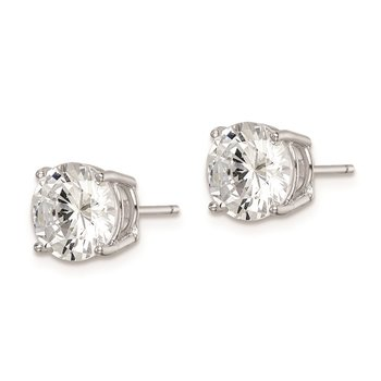 Sterling Silver Rhodium-plated Round CZ 8mm Post Earrings